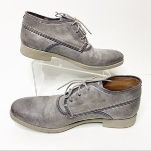 John Varatos Gray Distressed Waxed Ankle Boots